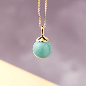 Gold Ball Necklace In Turquoise, Lapis, Coral And Jade