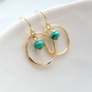 Turquoise Circle Earrings - december birthstone