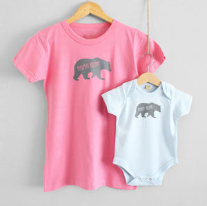 'Mama Bear' And 'Baby Bear' T Shirt Set - babygrows