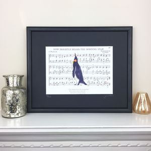 Limited Edition Penguin On Music Print - music