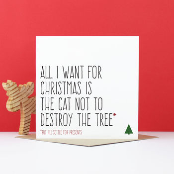 'Cat Not To Destroy The Tree' Christmas Card