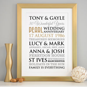 Personalised Pearl Wedding Anniversary Art