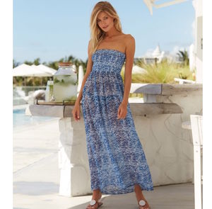 Isla Bandeau Maxi Dress Blue Zanzibar Print