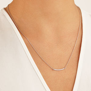 Gold Or Silver Diamond Style Pave Bar Necklace - necklaces & pendants