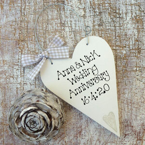 Personalised Wedding Anniversary Message Heart