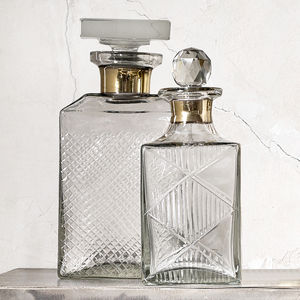 Patterned Glass Decanters With Gold Band - view all