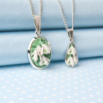 Two Designs Of Snowdrop Pendant Necklace
