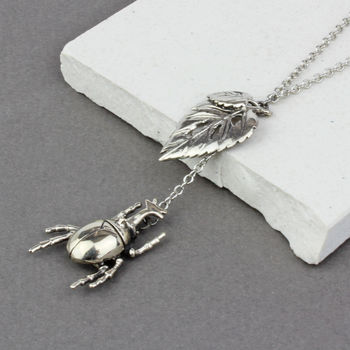 Silver Brass Beetle And Leaf Necklace