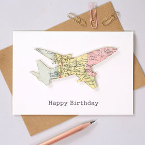 Personalised Map Aeroplane Birthday Card - birthday cards