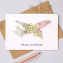 Personalised Map Aeroplane Birthday Card