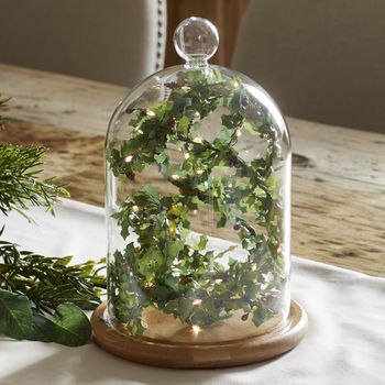 Glass Bell Jar With Holly Fairy Light Garland