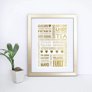 Personalised Loves Metallic Print