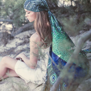Galilee Peacock Silk Ladies Scarf - womens