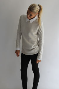 Textured Stripe Knitted Jumper - women's fashion