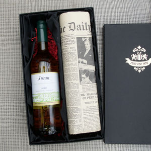 Personalised Wine And Newspaper Set - personalised