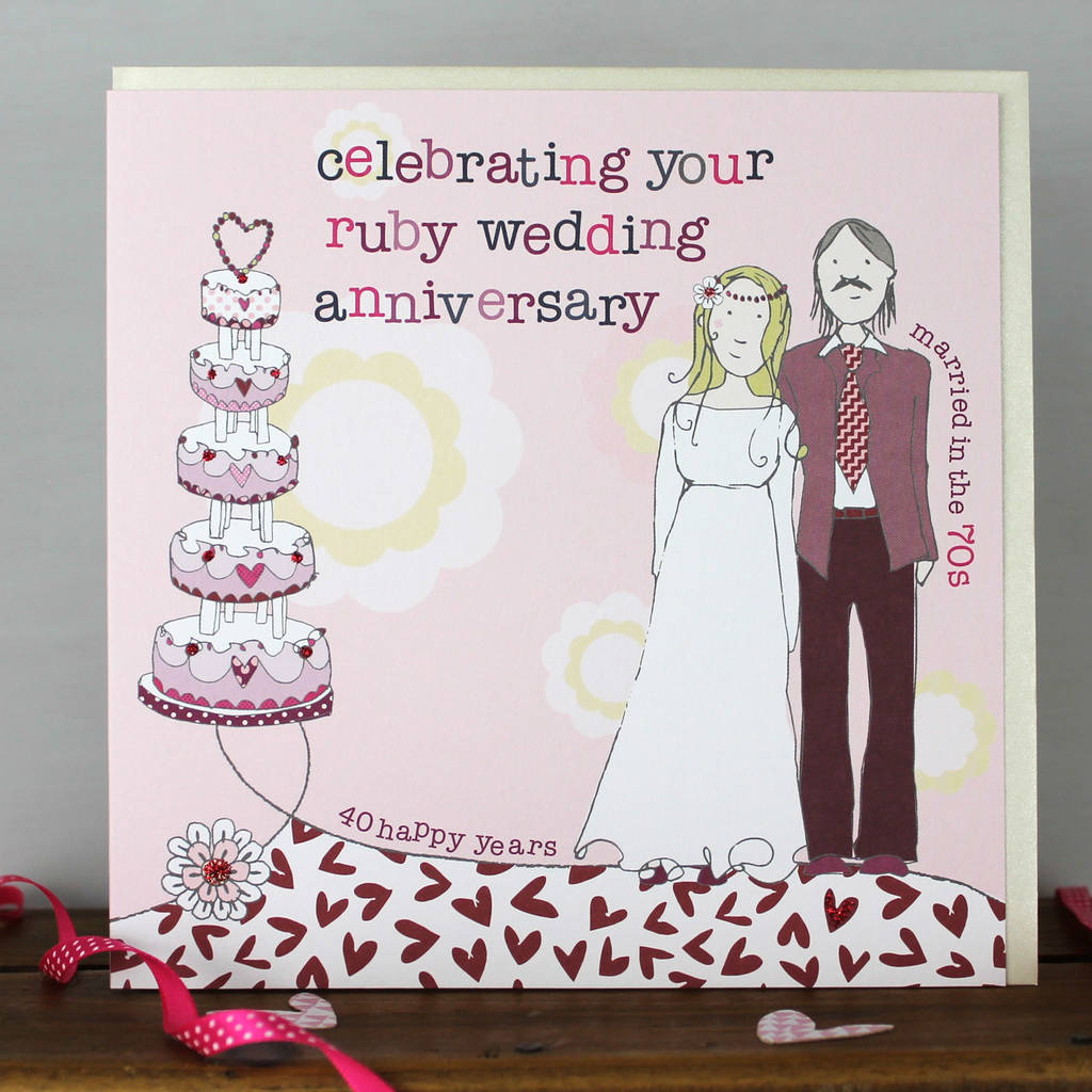 Ruby wedding anniversary card by molly mae