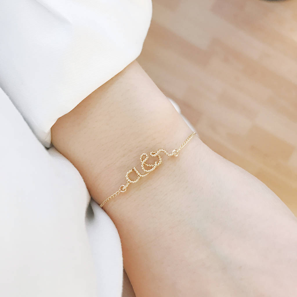 You And Me Initials 14k Gold Filled Bracelet By Rachel Joseph