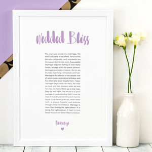 Personalised Wedding Gift; Wedded Bliss Print