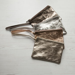 Italian Leather Clutch Purses Metallic Tones - whats new