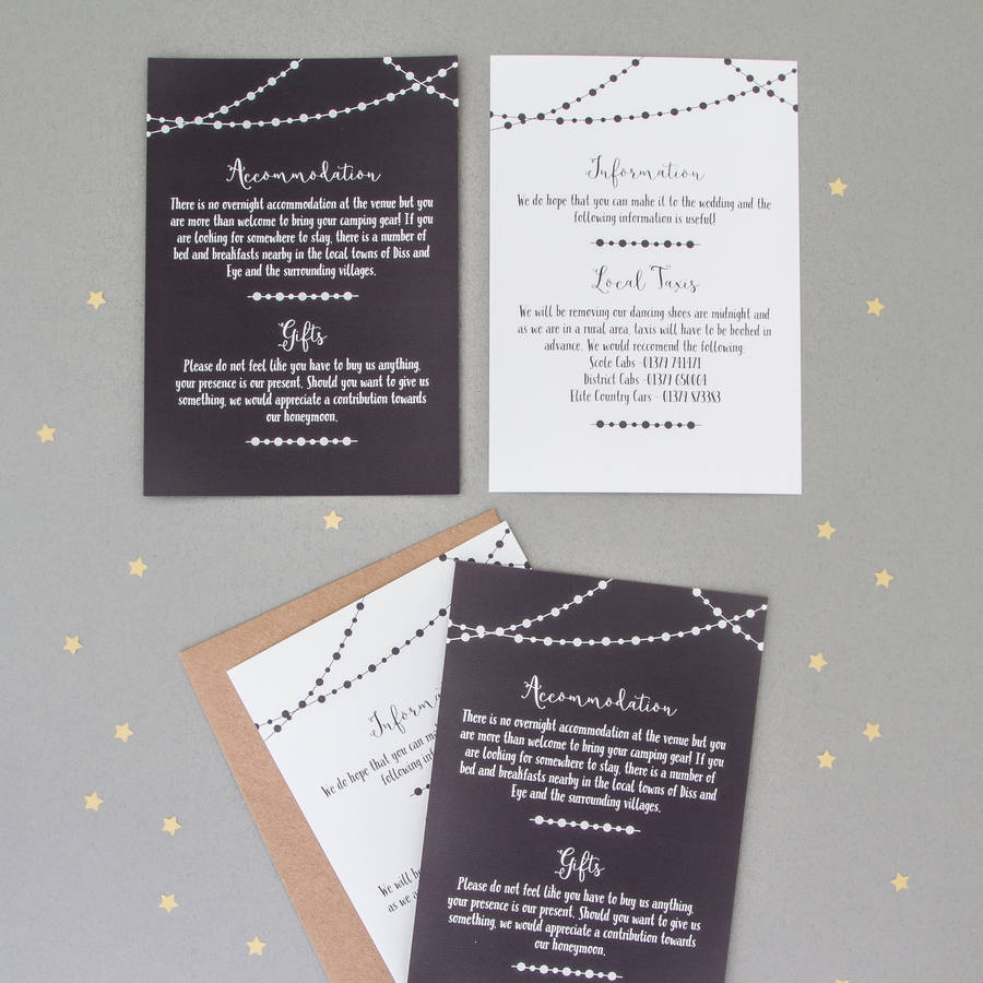 Fairy Light Wedding Invitation And RSVP fairy