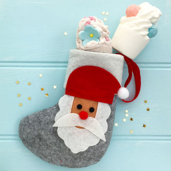 Santa Stocking With Luxury Scented Bath Bombs