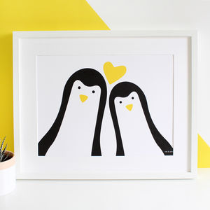 Penguin Couple 'Selfie' Personalised Print - new in home