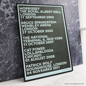 Personalised Favourite Gigs Stencil Print - 21st birthday gifts