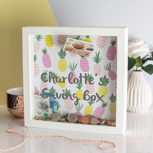 Personalised Pineapple Print Money Box Frame