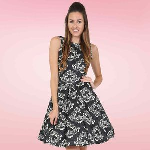 Regal Damask Flared Vintage Tea Dress