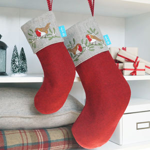Embroidered Robin And Mistletoe Christmas Stocking - personalised