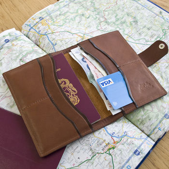 Super Deluxe leather passport wallet with tan suede lining by John Todd