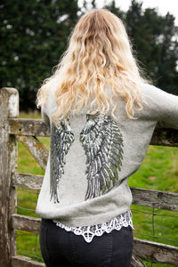 Grey Cashmere Crew Neck With Silver Sequin Wings