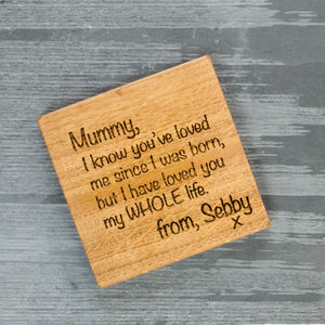 Personalised Letter To Mummy Or Nana Coaster