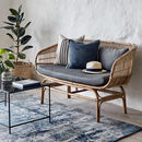 Natural Rattan Sofa With Grey Cushions