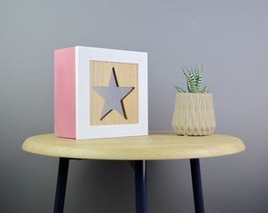 Personalised Star Wooden Jewellery Box Natural Or Pink