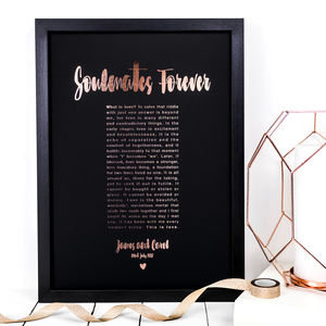 Framed Personalised Anniversary Gift; Soulmates Forever