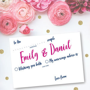 50 Personalised Modern Script Wedding Advice Cards