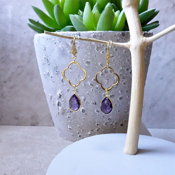 Amethyst February Birthstone Drop Earrings