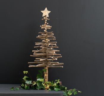 Large Wooden, Star Topped Tree
