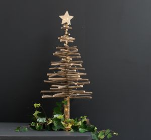 Large Wooden, Star Topped Tree - christmas trees