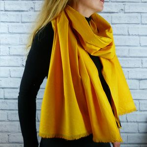 Eco Friendly Oversized Yellow Organic Cotton Scarf