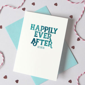 Personalised Watercolour 'Happily Ever After' Card - anniversary cards
