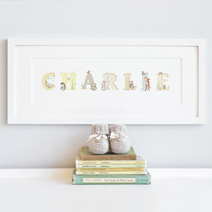 Personalised Framed Woodland Name Print - children's room