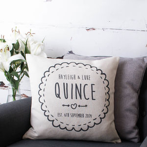Personalised Couple Cushion Cover - 4th anniversary: linen