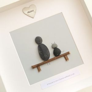 Personalised Family Cat Pebble People Picture Artwork - animals & wildlife