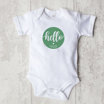 Personalised 'Hello'  Baby Organic Bodysuit | Mini A
