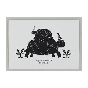 Letterpress Happy Birthday Step Dad Greetings Card - birthday cards