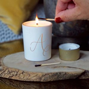 Calligraphy Initial Scented Votive - secret santa gifts