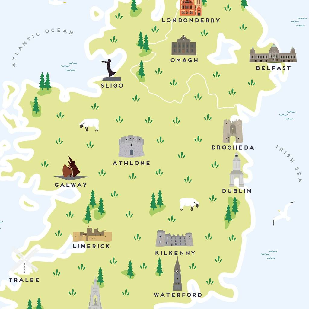Map Of Ireland Print.Map Of Ireland Print By Pepper Pot Studios Notonthehighstreet Com