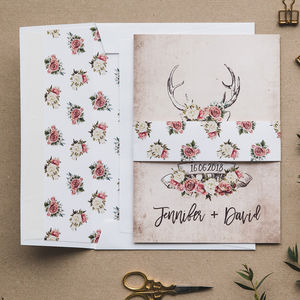 Stag And Rose Country Wedding Invitations